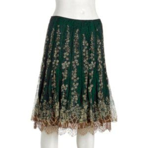 Elie Tahari Rochelle Floral Silk Embroidered Skirt